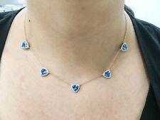 14k Rose Gold 7.34TCW Real Blue Trillion Triangle Topaz Diamond Pendant Necklace