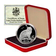 Isle of Man Alley Cat 1 Crown 1990 1 Oz Proof .999 Silver Mint Box & COA