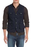Jeremiah Porter Herringbone Wool Vest small navy  bd3