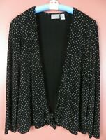 STK3325- CHICO'S TRAVELERS Women's Slinky Knit Jacket w/ Tie Black White Dot 2 L