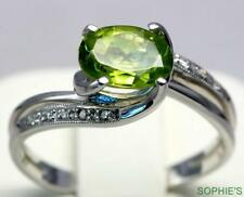 Peridot 14k White Gold Solitaire with Accents Engagement Rings