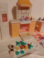 Vintage Mattel Barbie Kitchen Stove Sink Refrigerator Food Pots Pans L00K !!!