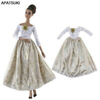 White Gold Party Dresses Princess Gown Outfits For Barbie Dolls 1/6 Doll Clothes