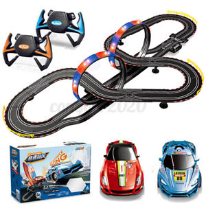 2 Controllers Remote Control Car Racing Track Set Electric Slot Race Stunt Toy