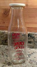 VINTAGE OAK PARK DAIRY EAU CLAIRE, WIS. 1 QUART GLASS MILK BOTTLE WITH SEAL