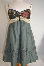 FREE PEOPLE Dress Silk Cotton Lace Embroidered Beaded V Neck ANTHROPOLOGIE Sz 4