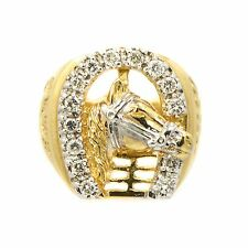 Ring Classic Horse Shoe Style 14KT Yellow Gold 0.45Ct 10.5 Grams Size 8 Men's