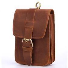 Men Leather Waist Pack Vintage Travel Small Fanny Loops Hip Bum Waist Bags