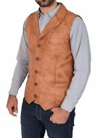 Mens Genuine Lambskin Leather Waistcoat Western Vest Coat Cowboy Classic Jacket