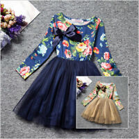 Long Sleeve Princess Girls Dress Lined Floral Print Birthday Party Kids Clothes
