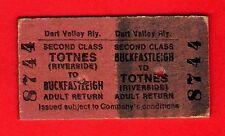 Dart Valley Railway Ticket ~ 2nd Return: Buckfastleigh to Totnes Riveside - 1972