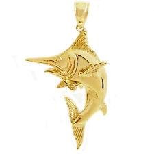 New 14k Yellow Gold Marlin Fish Pendant