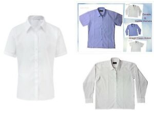 Girls Blouse Shirts School Uniform White, Blue,Long,Short Sleeves All Sizes