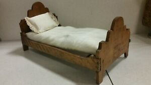 Antique Primitive Doll House Miniature Victorian Bed Early Wood Bedding Pillow