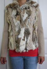 Real Rabbit Fur Women's Knit Sweater Beige Jacket Coat size M