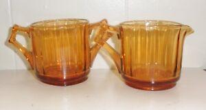 VINTAGE 1960'S AMBER DEPRESSION GLASS SUGAR BOWL AND CREAMER BEAUTIFUL DESIGN NR
