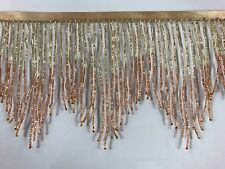 "6"" GOLD/COPPER Ombre BUGLE Beaded Fringe Chevron Lamp Costume Trim"