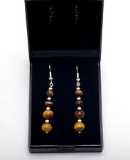 Silver plated earrings with natural Tiger's eyes gemstones