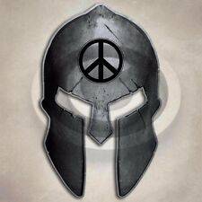 Peace Spartan Helmet Sticker World Symbol Fearless Decal