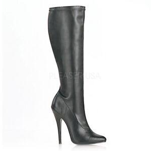 Devious DOMINA-2000 Single Soles Black Pu Sexy Knee High Heeled Boots