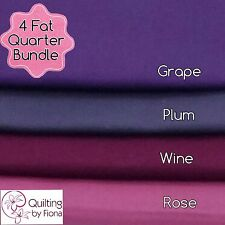 4FQ Fat Quarter Bundle, 4 in pack, Grape, Plum, Wine, Rose, 100% Cotton
