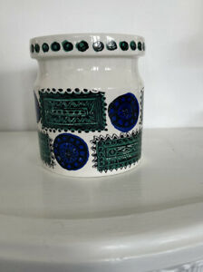 Talsiman Portmeirion Pottery Canister Jar With Lid Made In England Green & Blue