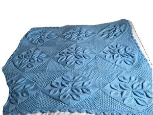 Small Blue Hand Knitted Bed Throw Please See Description
