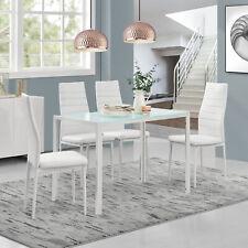 [en.casa]® Set de comedor mesa + 4 sillas blanco mesa de cristal mesa de cocina