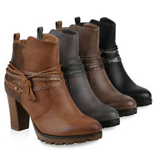 Gefütterte Ankle Boots Damen Nieten Prints Stiefeletten Absatz 812559 Schuhe