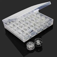 25X Useful Plastic Sewing Bobbin With Storage Box Spool Organizer Accessory Tool