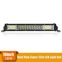 10in 180W Slim Dual Row Combo LED Work Light Bar Spot Flood Offroad SUV UTV ATV
