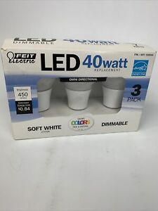3 PACK - FEIT 7 Watt DIMMABLE LED BULBS 40 W Replacement SOFT WHITE 22 Years