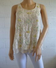 Cream Lace Overlay & Sequin Top UK 10 Aqua Yellow Occasion Wedding Party Summer