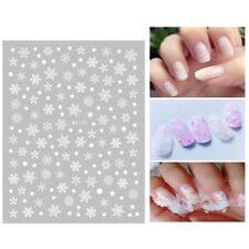 Christmas Nail Art Stickers Decals White Snowflakes Stars Snow Balls WG152