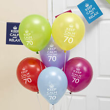 8 x 70th Birthday Balloons Keep Calm & Party On Decorations you're only 70