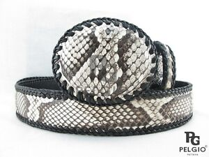 """PELGIO Real Genuine Python Snake Skin Leather Handmade Dress Belt 46"""" Long"""