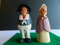 """2 Hand-Carved Wooden Sculptures- Sailor and Wife- 7"""" tall- Artist signed-dated"""