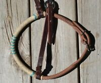 Jose Ortiz Rolled HL Western Training Caveson Full Nat/Turquoise Rawhide Nose