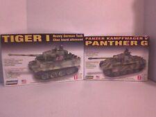 LINDBERG GERMAN Tiger 1 and Panther G Army tank model kits
