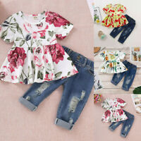 Toddler Baby Girl Floral Tops Jeans Ddenim Pants Summer 2PCS Clothes Outfits Set