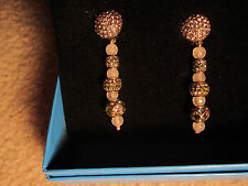 NEW HEIDI DAUS PINK QUARTZ & CRYSTAL ART DECO DANGLE  CLIP EARRINGS -SPARKLE!