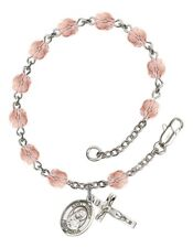 October Birth Month Bead Rosary Bracelet with St Monica Petite Charm