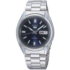 Seiko Herren-Armbanduhr Seiko 5 Automatik Edelstahl Analog Silber Blau SNXS77