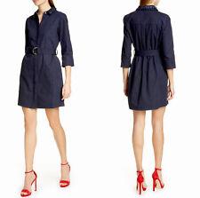 TED BAKER Indigo Blue Denim Jeans SALAT Floral Neck Belted Shirt-Dress Sz 2 4/6
