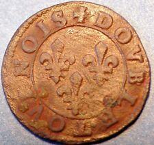Europian Medieval. France Feudal Conti Double Tourins . Francois Coper Coin