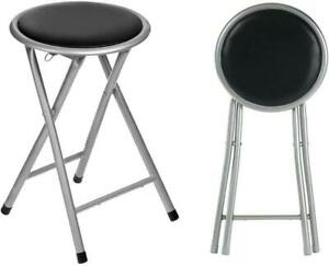 SILVER ROUND COMPACT FOLDING STOOL FOR HOME OFFICE