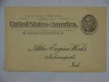 US Postal Card 1c Black Jefferson 1885-90s Atlas Engine Works Indianapolis IN