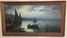 Original Vintage Nautical / Boats / Fisherman / Seascape Signed Oil Painting