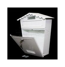 BIANCO GRANDE Bloccabile fuori CASSETTA delle Lettere Lettera Casella Di Posta Postbox & kit di fissaggio