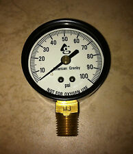 "100 PSI Water Pressure Gauge 2"" Dial Brass 1/4"" Male NPT Well Pump or Air Guage"